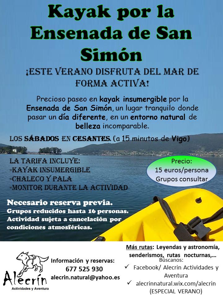 Kayak pola enseada de San Simón