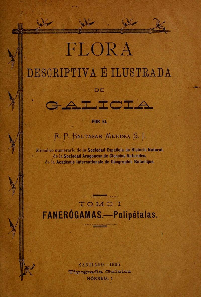 Portada do libro Flora descriptiva é ilustrada de Galicia do botánico español Baltasar Merino, publicado en 1905