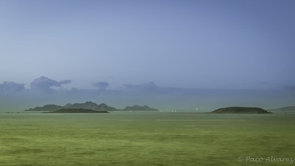 Illas Estelas e Cíes dende Cabo Silleiro, Baiona