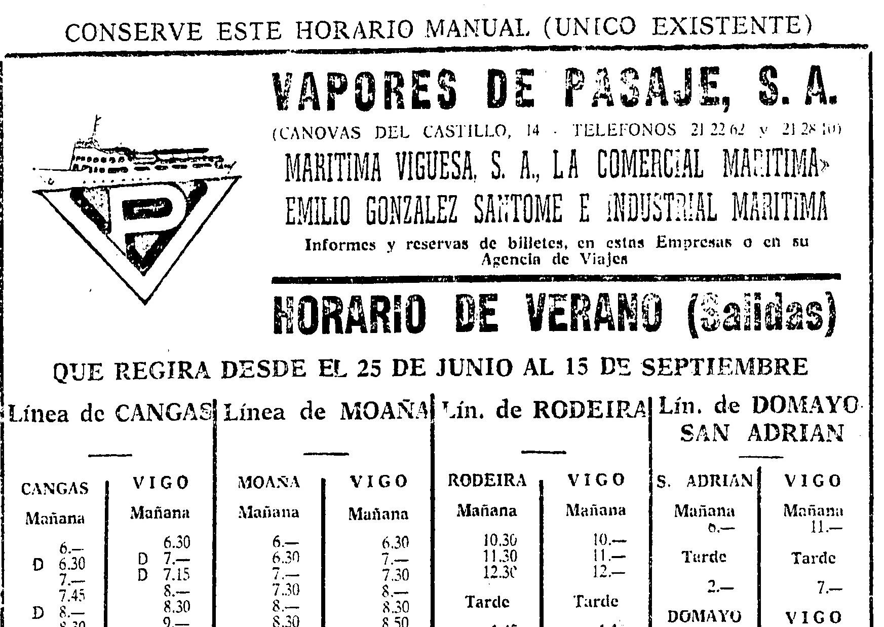 """Novo logo Vapores de Pasaje en 1970 e buque """"Islas Ficas"""" (II)"""