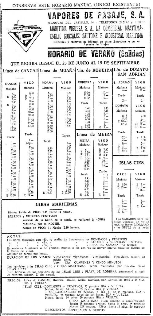 Horarios Vapores de Pasaje 1970