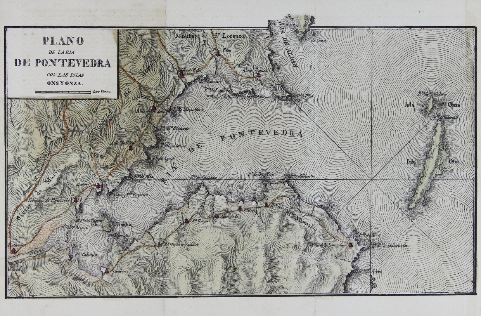 Plano do século XIX da ría de Pontevedra coas illas de Ons e Onza