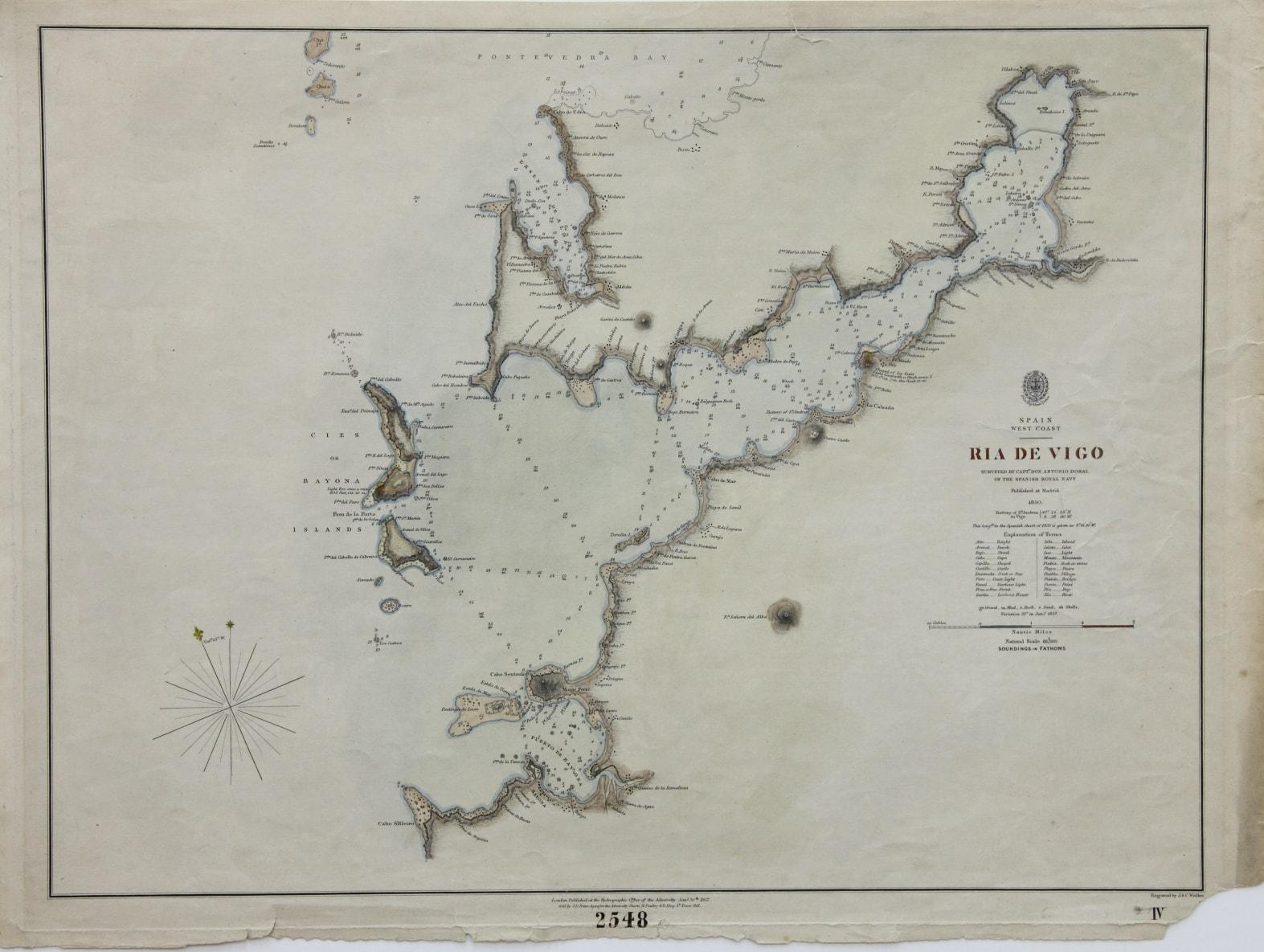 Cartografía ria de Vigo : Spain, West Coast (1857)