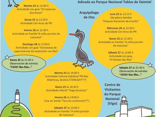Axenda semanal actividades no Parque Nacional