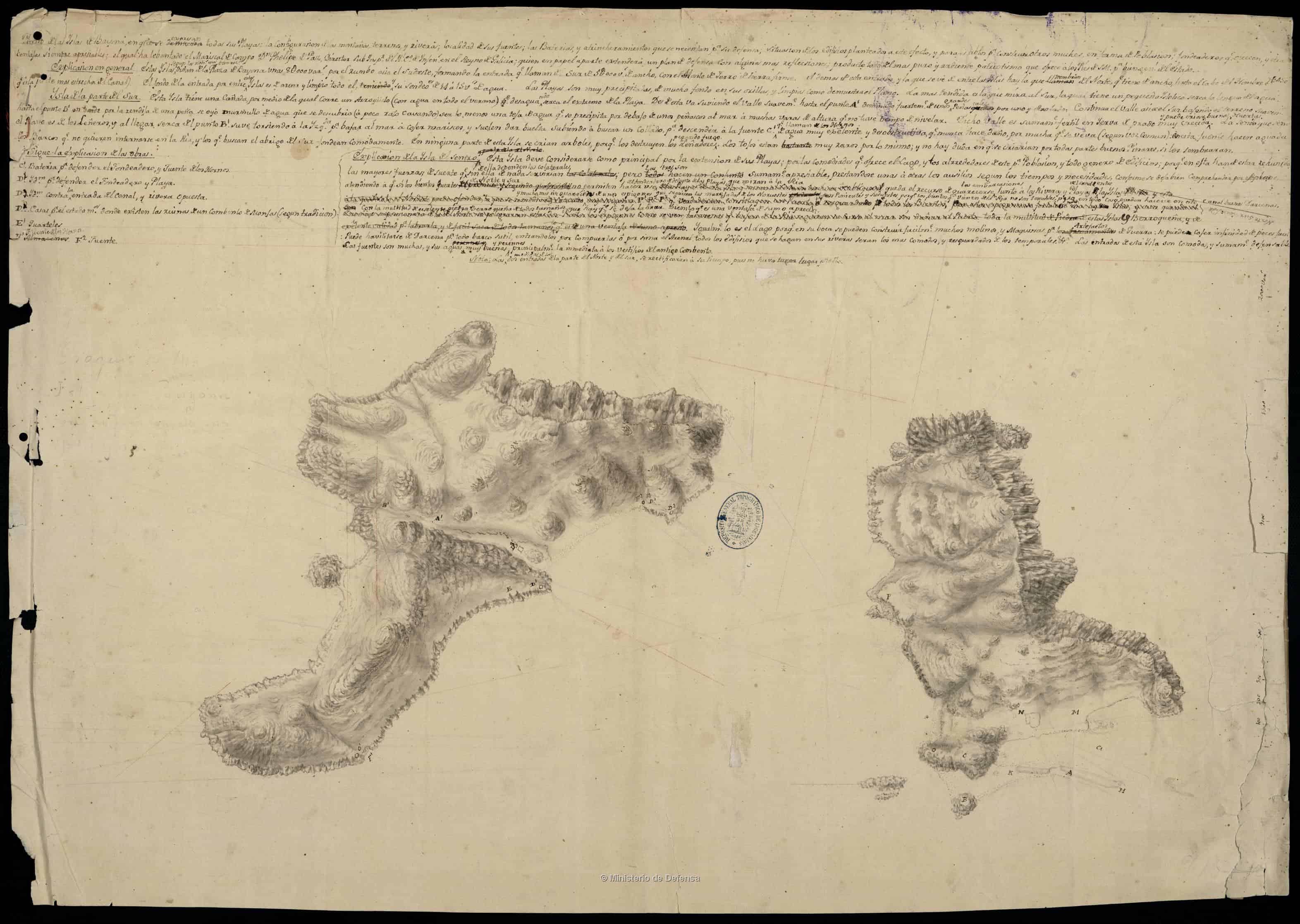 Plano das illas de Baiona, 1810