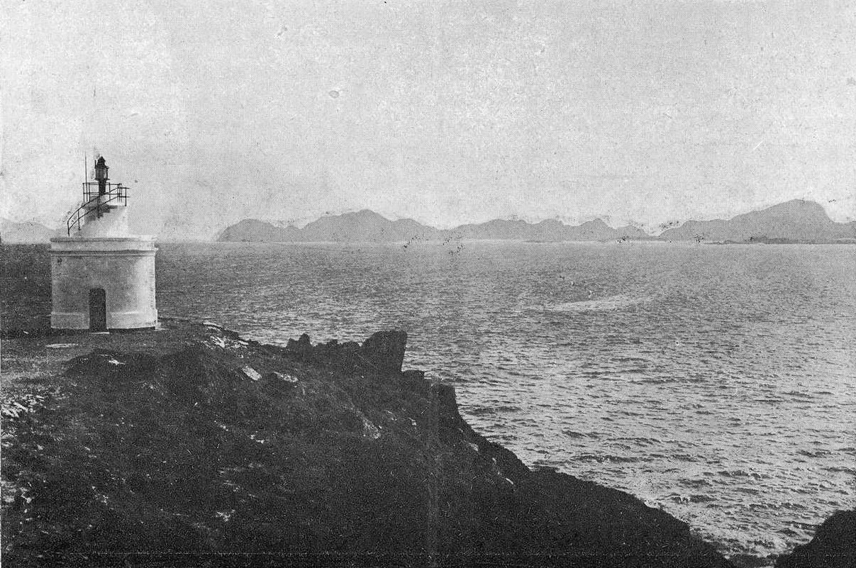 Vieja estampa de las islas Cíes desde punta Robaleira