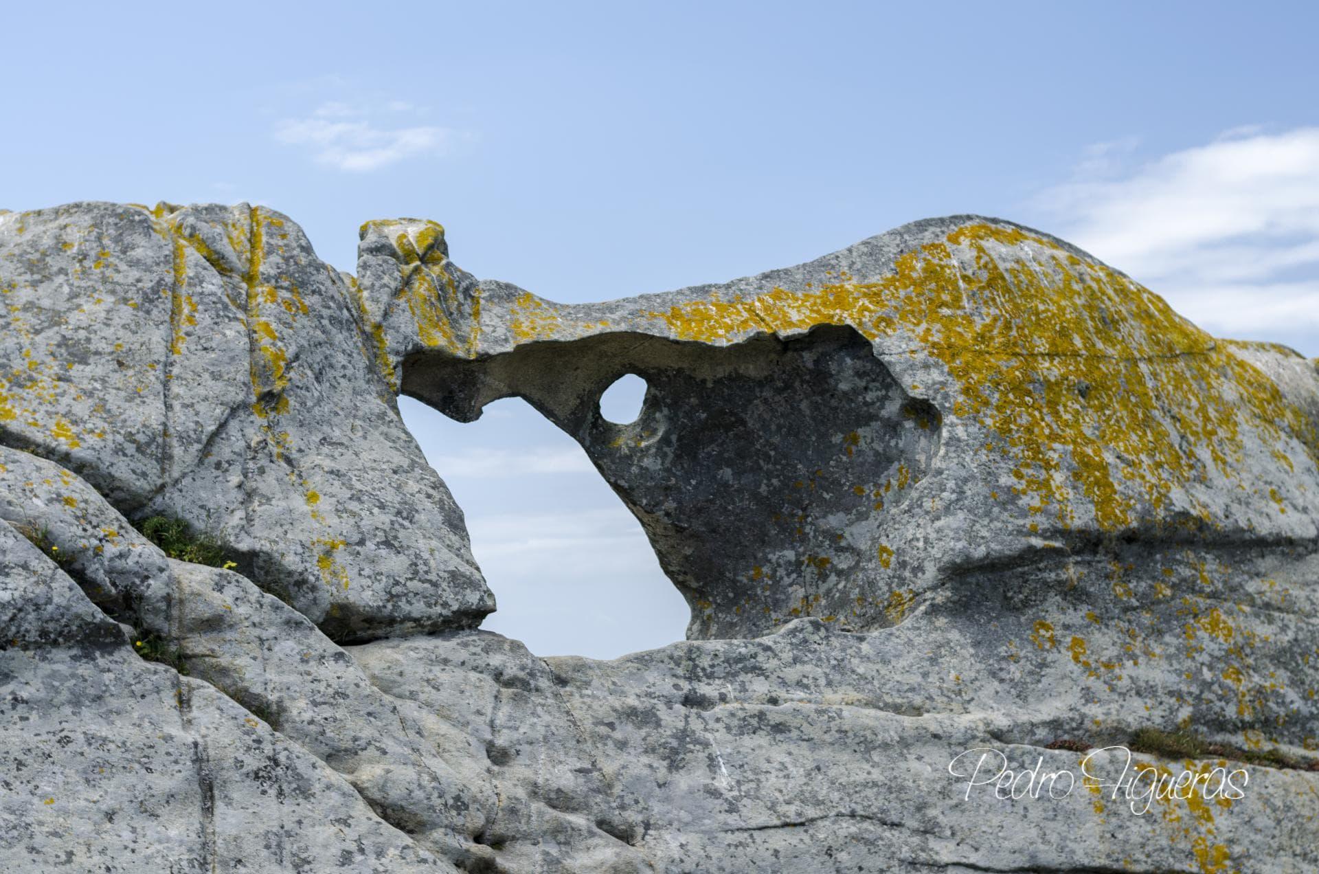 Nos granitos das zonas altas de Cíes atopamos marcas de micromodelado xerando formas moi caprichosas