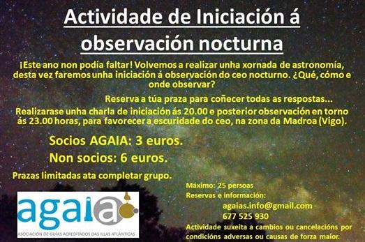 Actividade de Iniciación á observación nocturna con AGAIA