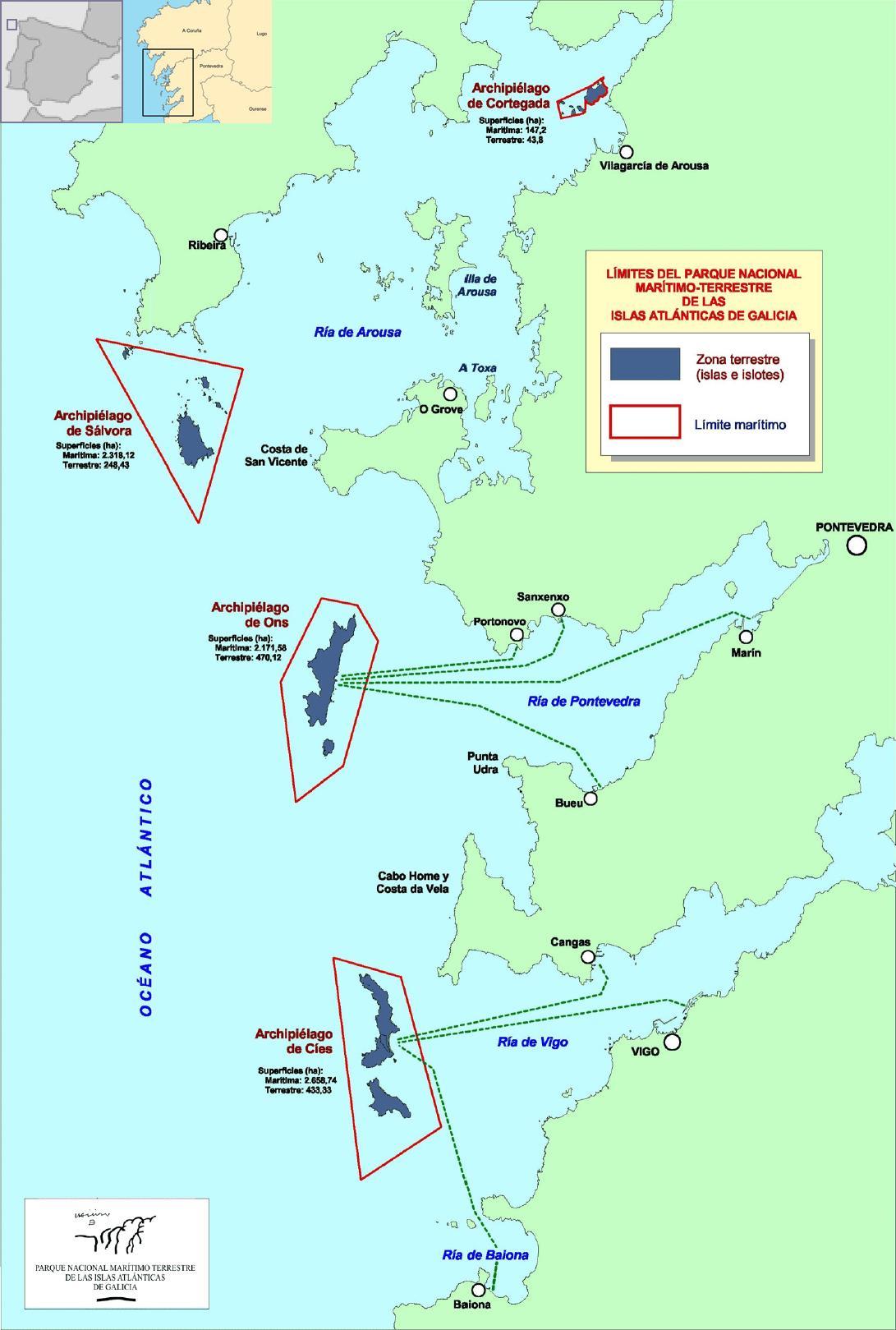 Plano de situación do Parque Nacional marítimo-terrestre das Illas Atlánticas de Galicia