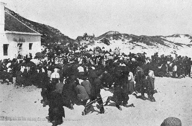 Misa de campaña en las islas Cíes en 1927