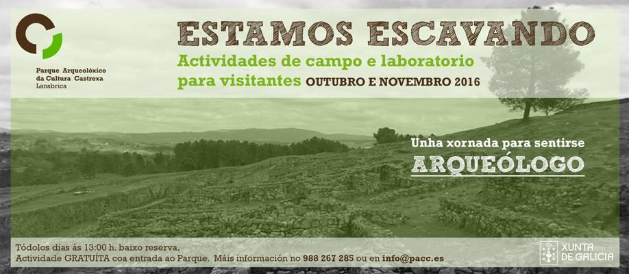 """""""Estamos escavando"""". Actividades de campo e laboratorio para visitantes"""