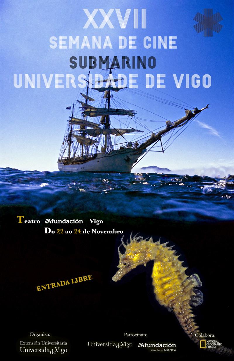 Schooner. School-ship. Training ship. Common Sea Horse (Hippocampus guttulatus). Eastern Atlantic. Galicia. Spain. Europe